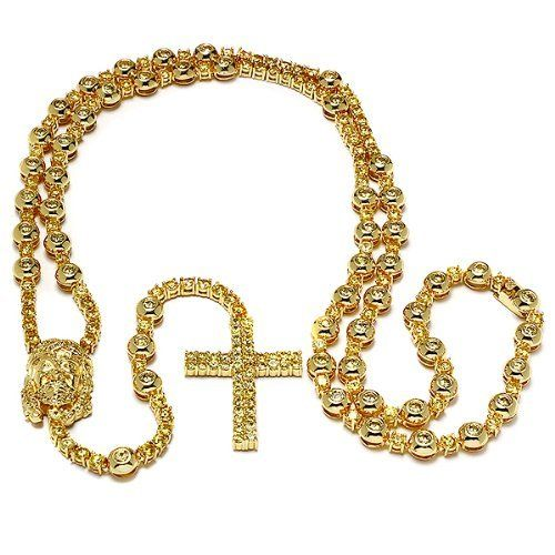 Mens 18k Yellow Gold Plated Hip Hop Style 34 Inch long 8 Inch Drop Iced Out Yellow Cubic Zirconia Rosary Chain Necklace Jesus Face Lobster Clasp DazzlingRock Collection. $129.00. This necklace is iced out. This is a unique Hip Hop Style rosary.. It is a trendy accessory and makes a perfect gift for any occasion.. Get the most bang for your buck. Cubic Zirconia Color / Clarity : Yellow / Clean