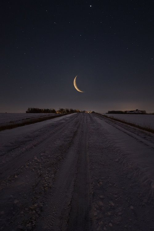 """Frozen Road to Nowhere"" Waning Crescent Moon rises over a snow covered gravel road in eastern South Dakota. www.HomeGroenPhotography.com"