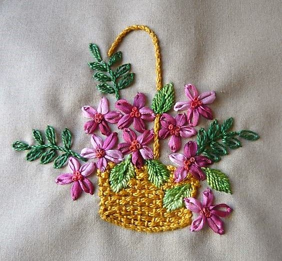 Ribbon Embroidery Flower Baskets : Best embroidery baskets vases images on