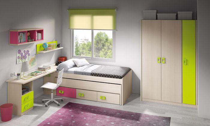 Habitaci n juvenil pr ctica y funcional con cama nido con tres cajones y arc n contenedor - Habitacion con cama nido ...