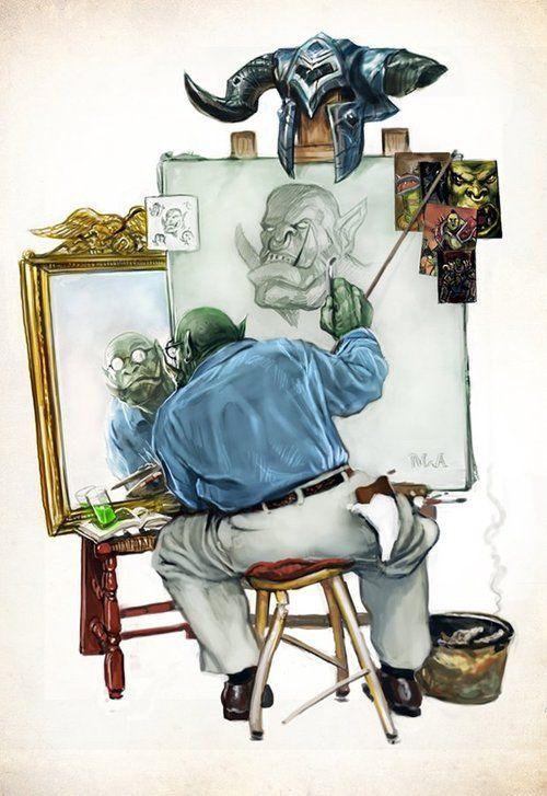 Triple Self-Portrait by Mike Antrim - Geek Art. Follow back if... #comics #art