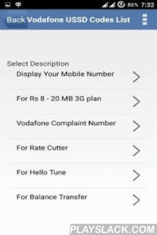 Vodafone USSD Codes India  Android App - playslack.com ,  The app provides list of Vodafone USSD Codes India collection which includes Balance Check, Balance transfer, Tariff plans, Do not Distrub Service, Vodafone to Vodafone free Minutes and other USSD Codes.We tried hard to provide best possible working codes, if at all if any codes are not working please inform us, so that we can update with the latest USSD Codes. Updated regularly with latest Vodafone USSD Codes.Please rate this app, so…
