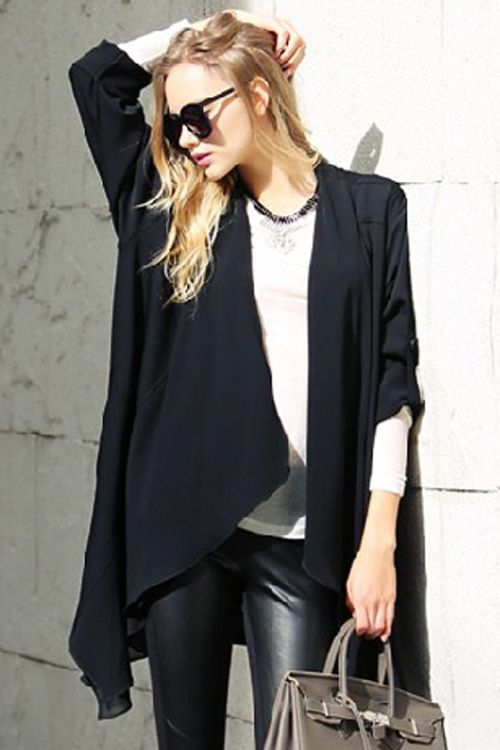 Loose Fitting Long Sleeves Solid Color Cardigan