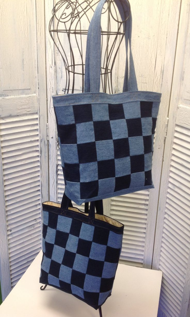 Bleu Redux Upcycle Checkered Denim Tote by GrandmaRietas on Etsy