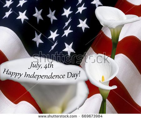 july 4th happy independence day with calla flowers on usa flag used as background