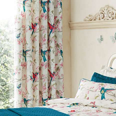 Teal Tropical Birds Thermal Eyelet Curtains