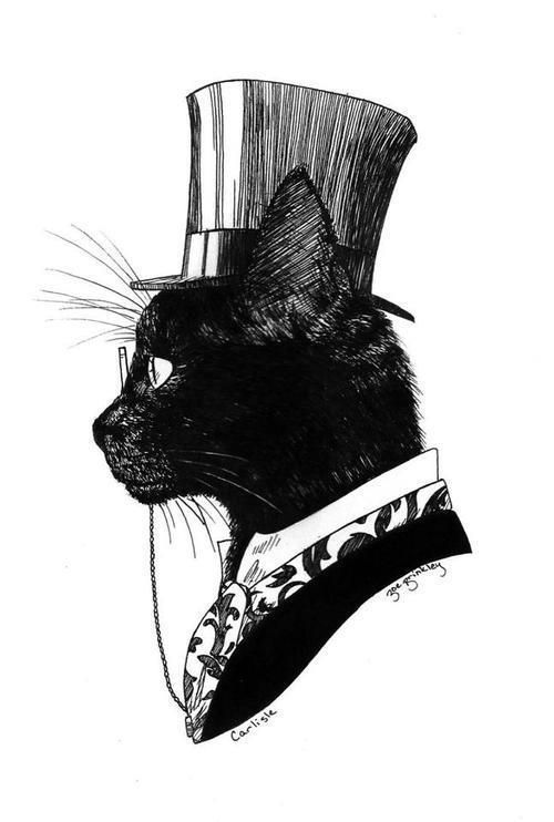 Victorian cat. When did today's cats stop dressing so nattily? In the wretched 60's when all went to perdition, smelling flowers and devoid of all foundation garments. Not even Lucifer was prepared for their lack of taste. Sent them back-to start a hell of their own. They have.