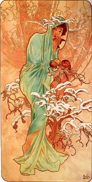 "Alphonse Mucha ""Winter"": Alfons Mucha, Alphon Lot, Oil Paintings, Art Nouveau, Artnouveau, A Tattoo, Art Deco, Alphonse Mucha, Maria Mucha"