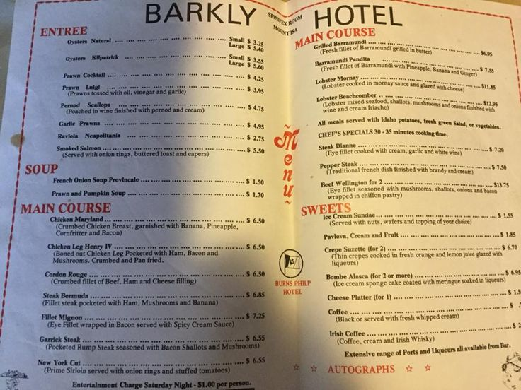 By gone era 'Menu' of the Barkly Hotel Restaurant, Mount Isa.