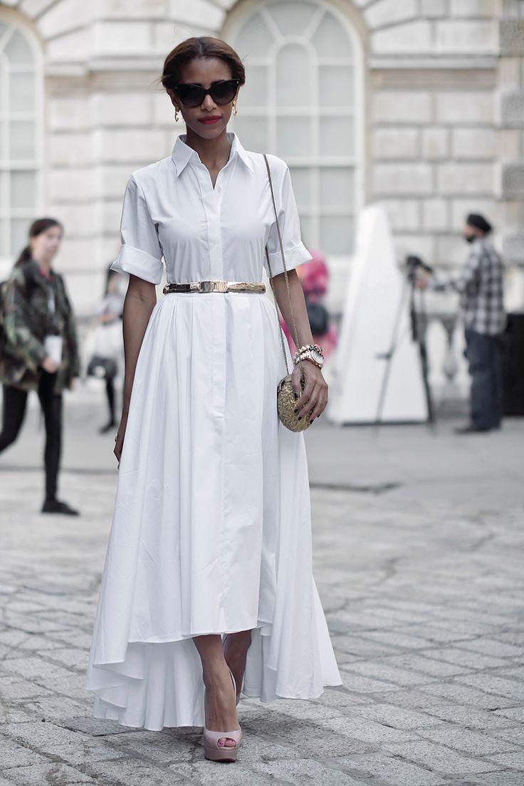 london street style; simple white shirt dress