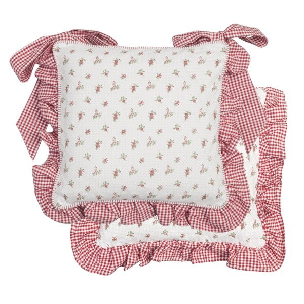 coussin galette de chaise roses volant vichy rouge coussins et galette de chaise pinterest. Black Bedroom Furniture Sets. Home Design Ideas