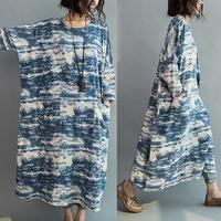 Women Blue batik long section loose stitching sleeve cotton casual dress