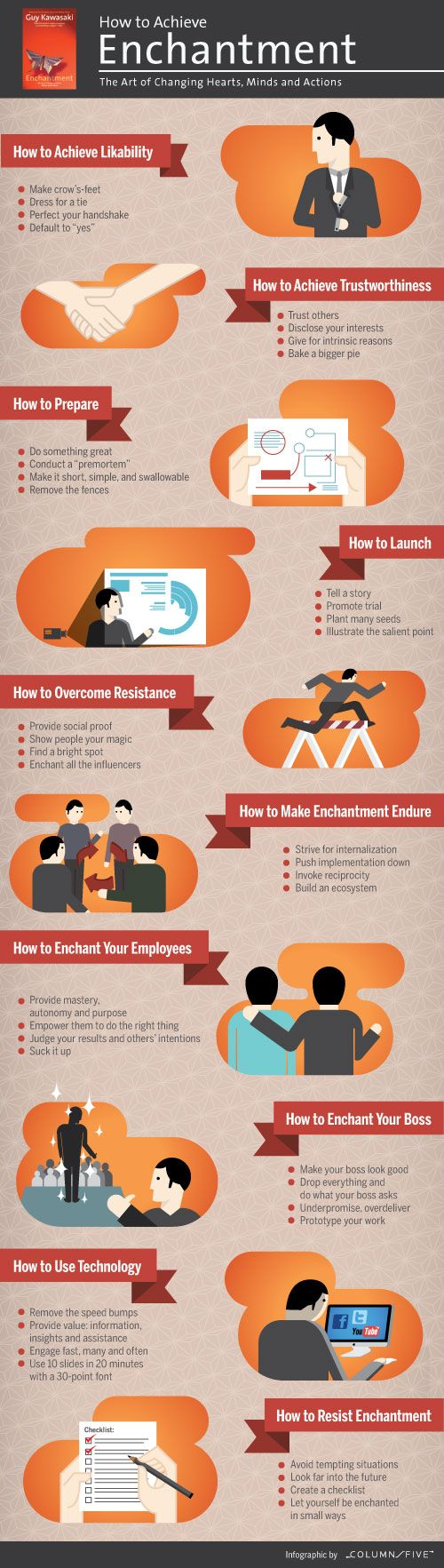 Infographic of Guy Kawasaki's book 'Enchantment'. Do you enchant your customers/clients/employees?