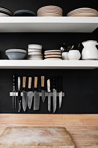 a clean kitchen: Kitchens, Interior, Idea, Black Walls, Knife Storage, Dark Wall, Open Shelving, Kitchen Walls