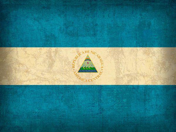 Nicaragua Flag Vintage Distressed Finish