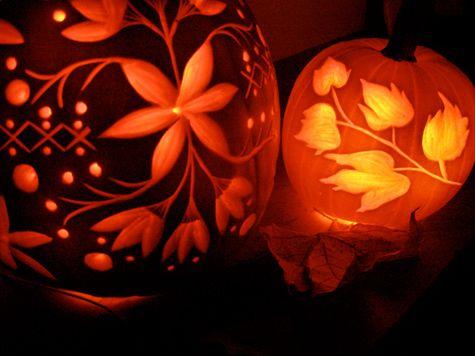 Artfully carved pumpkins.