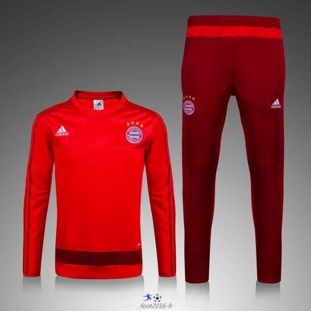 Promo Nouveau Survetement de foot Bayern Munich Rouge 2015 2016 -02