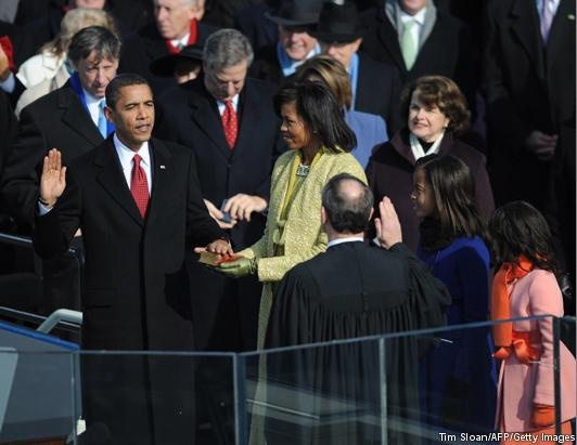 2.Barack Obama is sworn in as 44th US president by Chief Justice John Roberts beside wife Michelle, Jan. 20, 2009, at the Capitol in Washington, D.C. Obama took the oath on the same Bible used to swear in President Abraham Lincoln.     More photos of presidents taking the oath of office ahead of Monday's inauguration: http://abcn.ws/W3XjJj