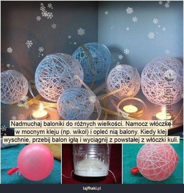 Lajfhaki.pl - Nadmuchaj baloniki do różnych wielkości. Namocz włóczkę w mocnym kleju (np. wikol) i opleć nią balony. Kiedy klej wyschnie, przebij balon igłą i wyciągnij z powstałej z włóczki kuli.