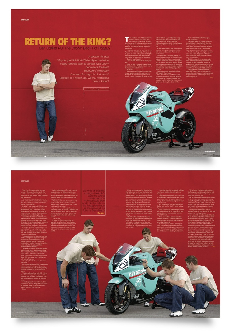 Editorial Design: Chris Walker interview from Motorcycle Racer Magazine