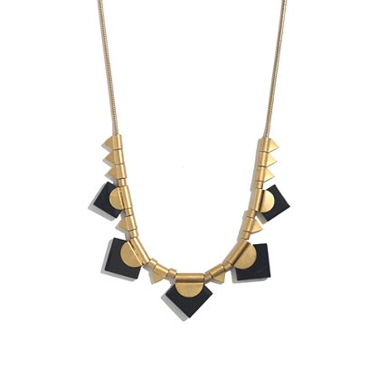 Love the shapes! And the black on gold  Spring Festival Necklace - Madewell