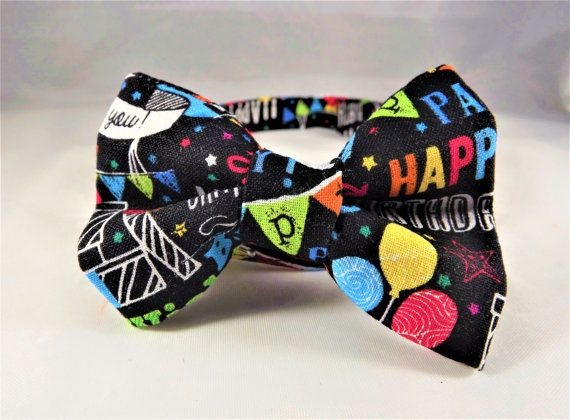 Happy Birthday Cat Collar, Breakaway Cat Collar, Happy Birthday Kitten Collar, Cupcake cat collar, flower or Bow tie optional