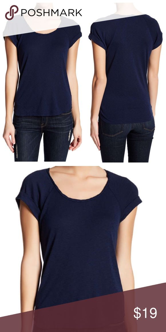 """Michael Stars Cuffed Sleeve Scoop Neck Navy Tee Navy tee by Michael Stars with scoop neck, short cuffed sleeves and rounded hem. Made in USA. Bust 32"""" - 46"""", Length 24"""" - 25.5"""". 50% Cotton, 50 % Micromodal. Michael Stars Tops Tees - Short Sleeve"""