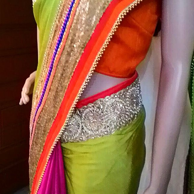 Saree details ! . .  #prettylook  #designer #couture  #clothing #luxury #apparel  #embroidery  #intricate #fashion #bridal #wedding #saree  #pink #red #green  #blouse #handmade #silver #details  #ethnic  #indianfashion #fashionista #ootd  #glamour  #party #bespoke  #shaadi