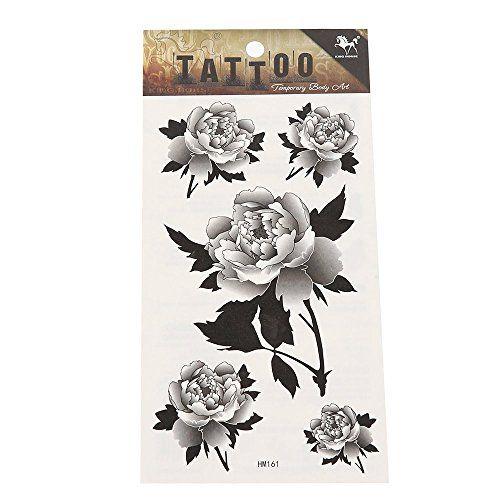 Tattoo schwarz wei� Pfingstrosen Bl�ten detailliert tempor�r Klebetattoos