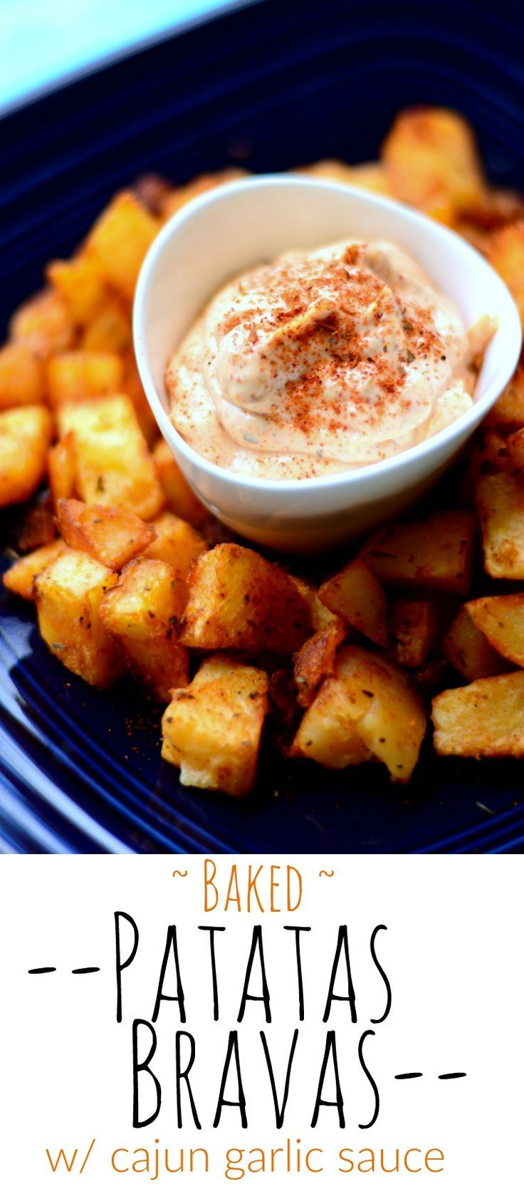 Celebrate National Potato Day and National Hot and Spicy Day with these gorgeously BAKED Patatas Bravas - the best and my favourite in any Spanish Tapas Menu!  Served with my own version of the Bravas sauce - garlic and cajun mayo - this < 30 minute appet