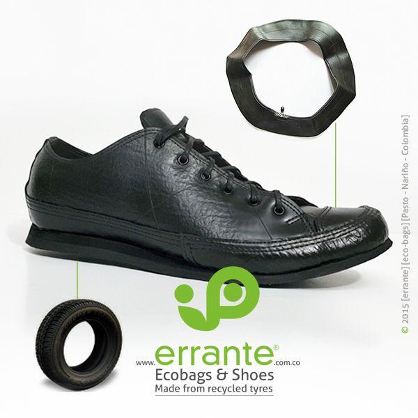 shoes made from recycled tyres. zapatos hechos de neumáticos y llantas recicladas.