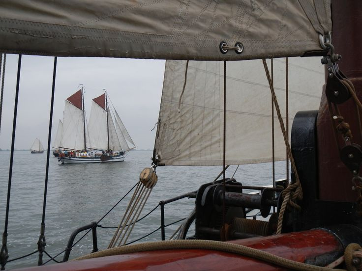 Brandarisrace with 70 historical sailingvessels to the Dutch island Terschelling