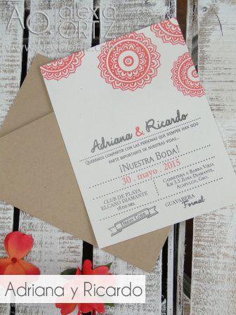 Invitaciones de boda flores naranjas en sobre tipo folder /invitaciones de boda / wedding invitations