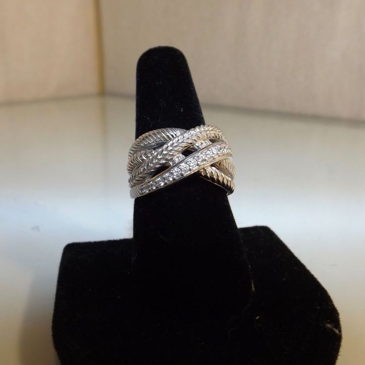 Judith Ripka Sterling Intertwined Criss-cross Ring 7 #JudithRipka #Ring