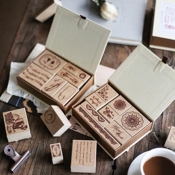 Lace Travel Bullet Journal Stamps Set Vintage Rubber Stamp Etsy Rubber Stamp Kit Scrapbooking Stamps Diy Stamp