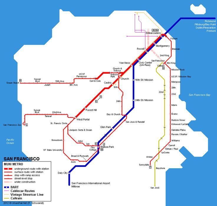 15 best maps san francisco images on pinterest maps cards and san francisco muni metro sytsem map 2008 robert schwandl sciox Choice Image