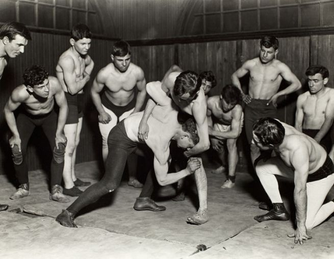 Lewis W. Hine (American, 1874 – 1940) Greek Wrestling Club From the series Hull House, Chicago c. 1910