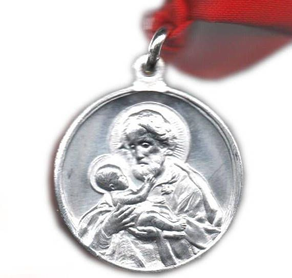 Vintage Saint Robert medal, patron of catechumens, adult converts to Catholicism, on red satin ribbon, gift for RCIA, experienced artifact. $10.00