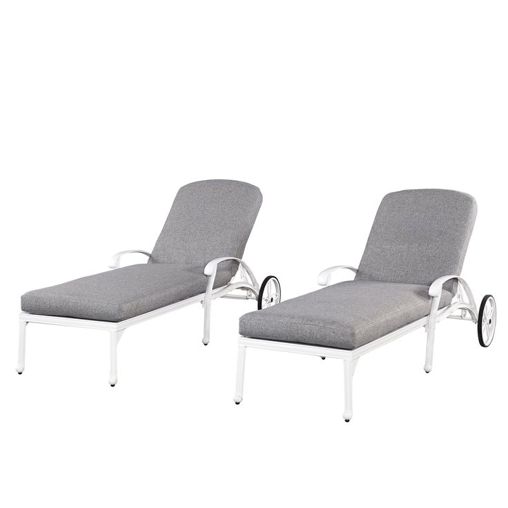 Home Styles Floral Blossom White Chaise Lounge Chairs w/ Cushions
