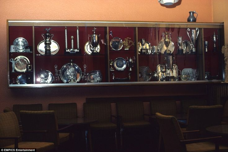 A look inside the United trophy cabinet in September 1980. At that point in time, the club had won the First Division title seven times, the FA Cup four times, one European Cup and the Charity Shield (now Community Shield) eight times