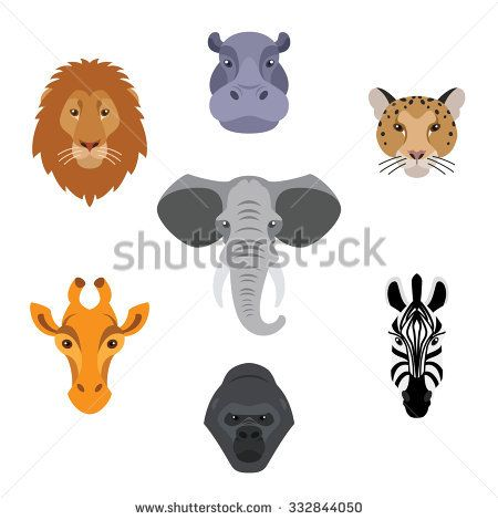 African animals in flat style.Colorful head of elephant,lion,zebra,gorilla,giraffe,hippo and jaguar.Vector isolated icons.