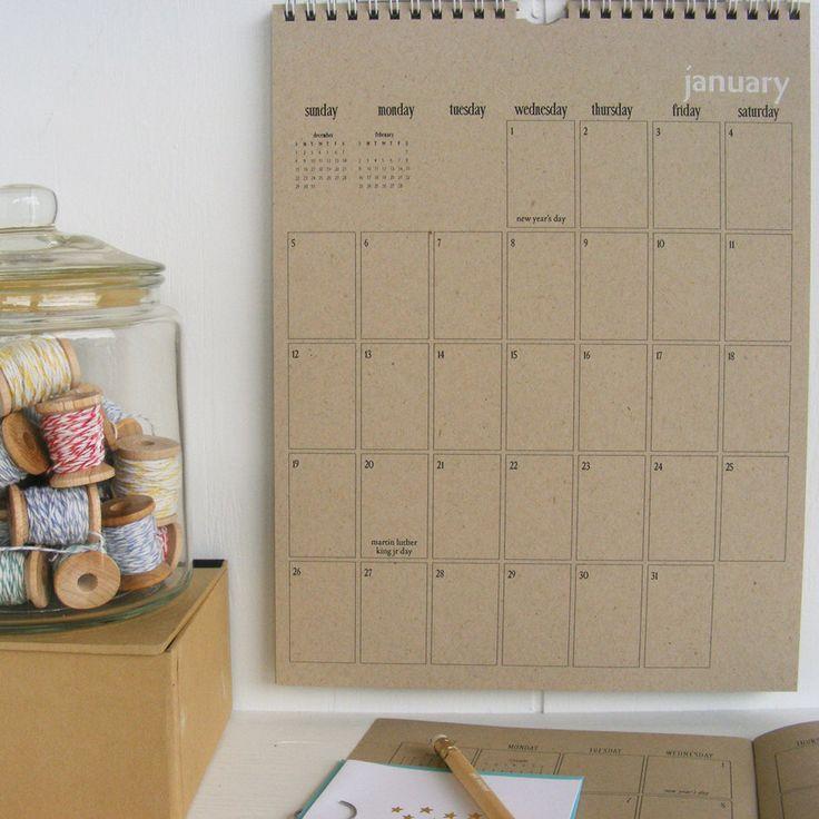2014 kraft wall calendar - large by lettercdesign on Etsy https://www.etsy.com/listing/158203980/2014-kraft-wall-calendar-large