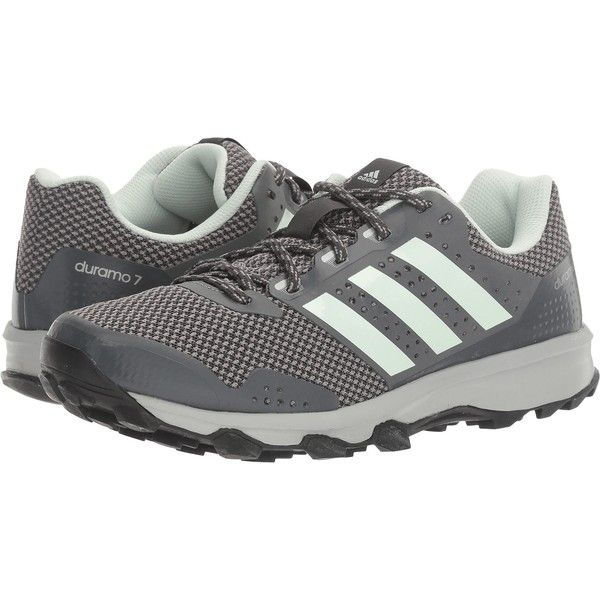adidas Duramo 7 Trail (DGH Solid Grey/Ice Mint/CH Solid Grey) Women's... ($53) ❤ liked on Polyvore featuring shoes, athletic shoes, grey, lightweight trail running shoes, adidas shoes, running shoes, lightweight running shoes and flexible running shoes