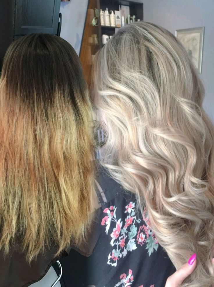 Before and after Babylights Balayage Olaplex Blonde Cool