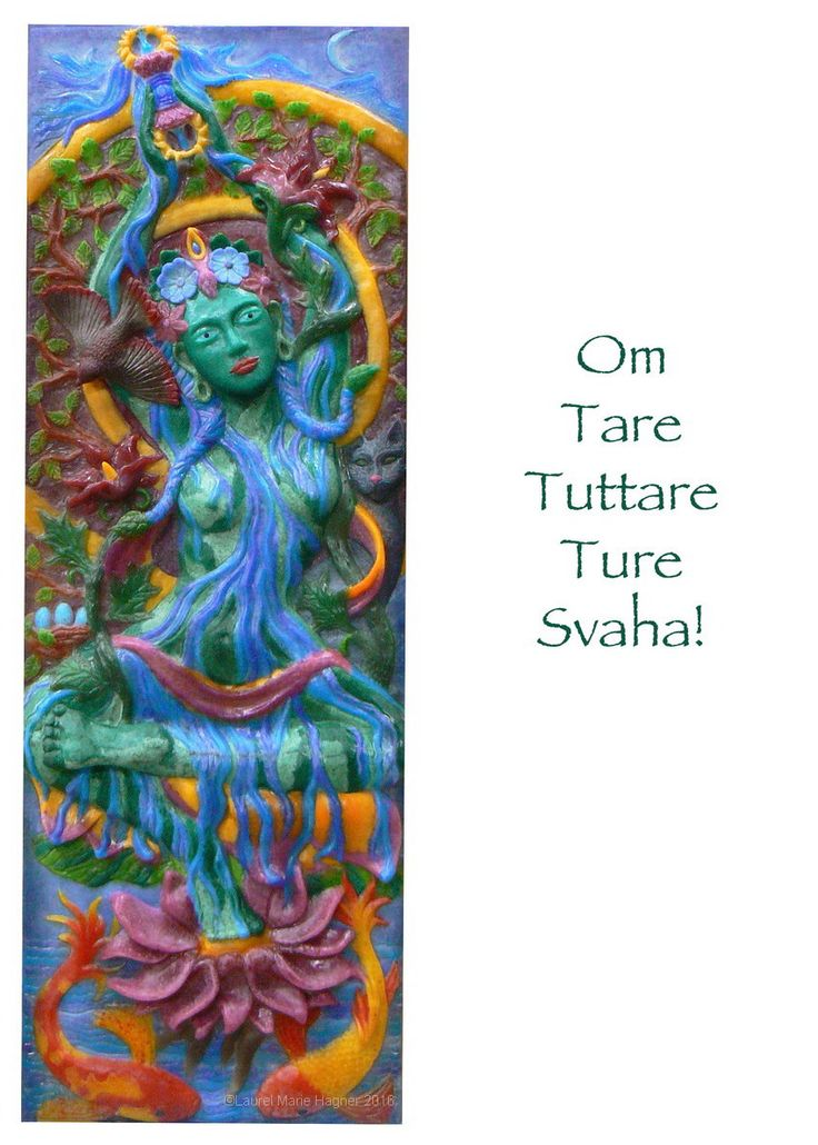 The Green Tara Mantra - Laurel Marie Hagner's Sacred Art Greeting Cards by Glassometry on Etsy