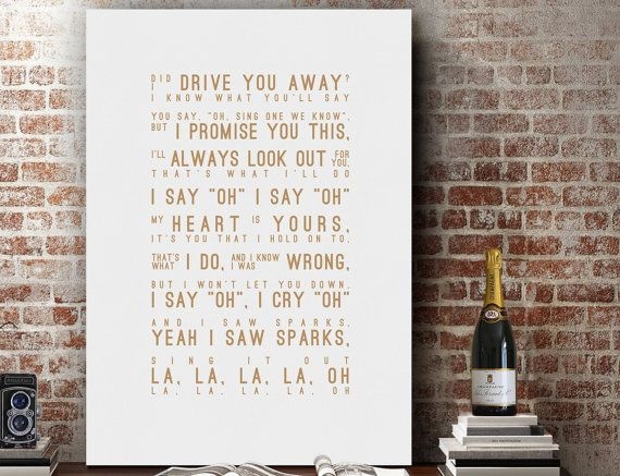 Hey, I found this really awesome Etsy listing at https://www.etsy.com/listing/286119213/coldplay-sparks-lyrics-love-song-wall