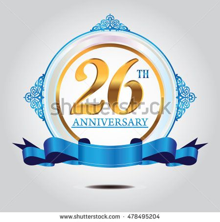 26th anniversary golden logo with soft blue ring ornament and blue ribbon