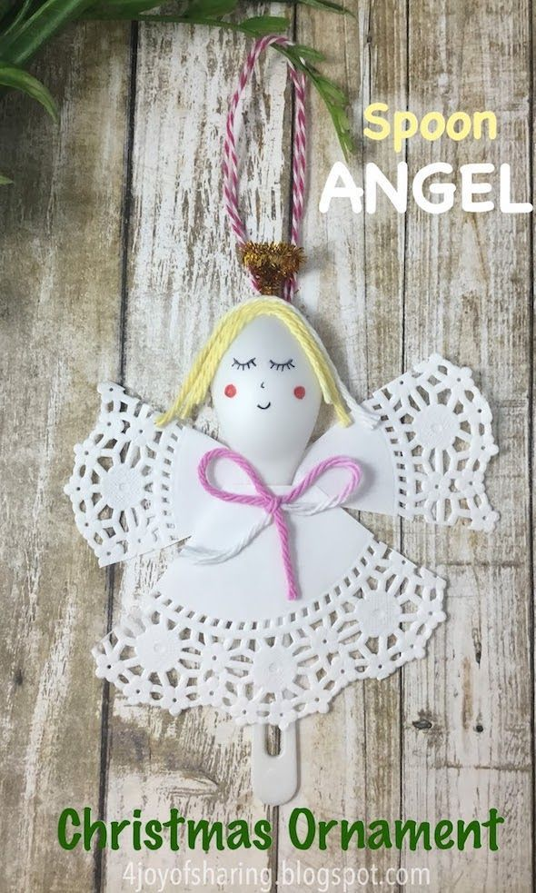 Spoon Angel Christmas Ornament #christmascrafts #christmasornament #kidscraft #angelcraft