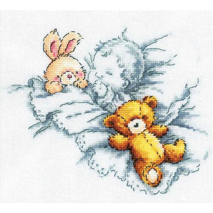 RTO-Cross Stitch Kit. This kit features a cute image of a child and their favorite stuffed toys. This package contains cotton floss, a 14 count Aida fabric, a needle, chart and instructions. Design si