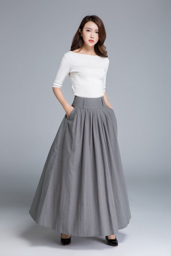 Dark grey skirt linen skirt full skirt swing skirt long